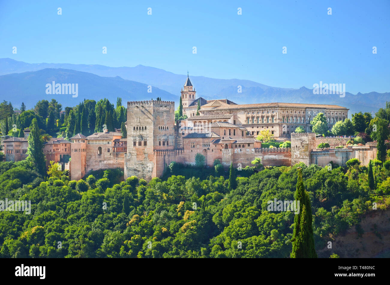 Amazing view of Alhambra palace complex in Granada, Spain taken on a sunny day. UNESCO World Heritage Site, significant sample of Islamic architecture Stock Photo