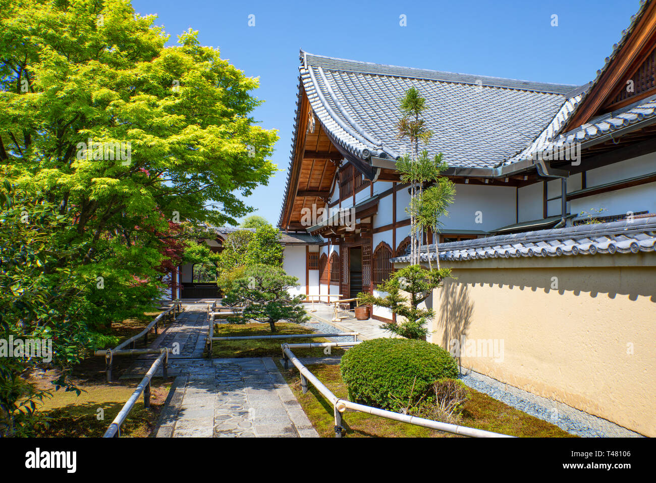 Japan, Kyoto, the entrance of the Korin-in temple - Stock Image