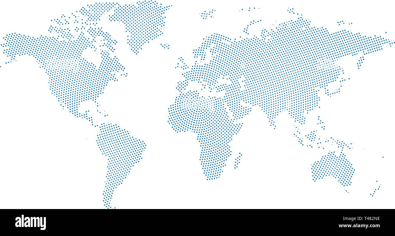 World Map With Australia Circled.Black Halftone Circled Dotted Blue World Map Vector