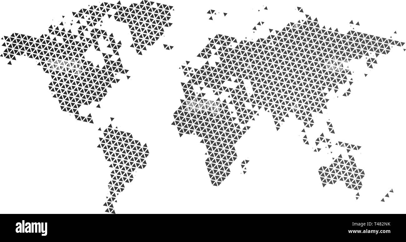 Black halftone triangle dotted world map. Vector illustration ...