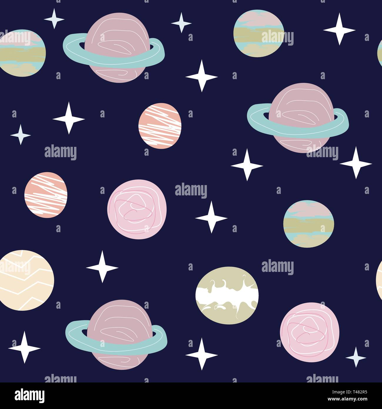 Space Cat Hero. Pattern with a flying cat in space, planets, rocket, stars. - Stock Vector