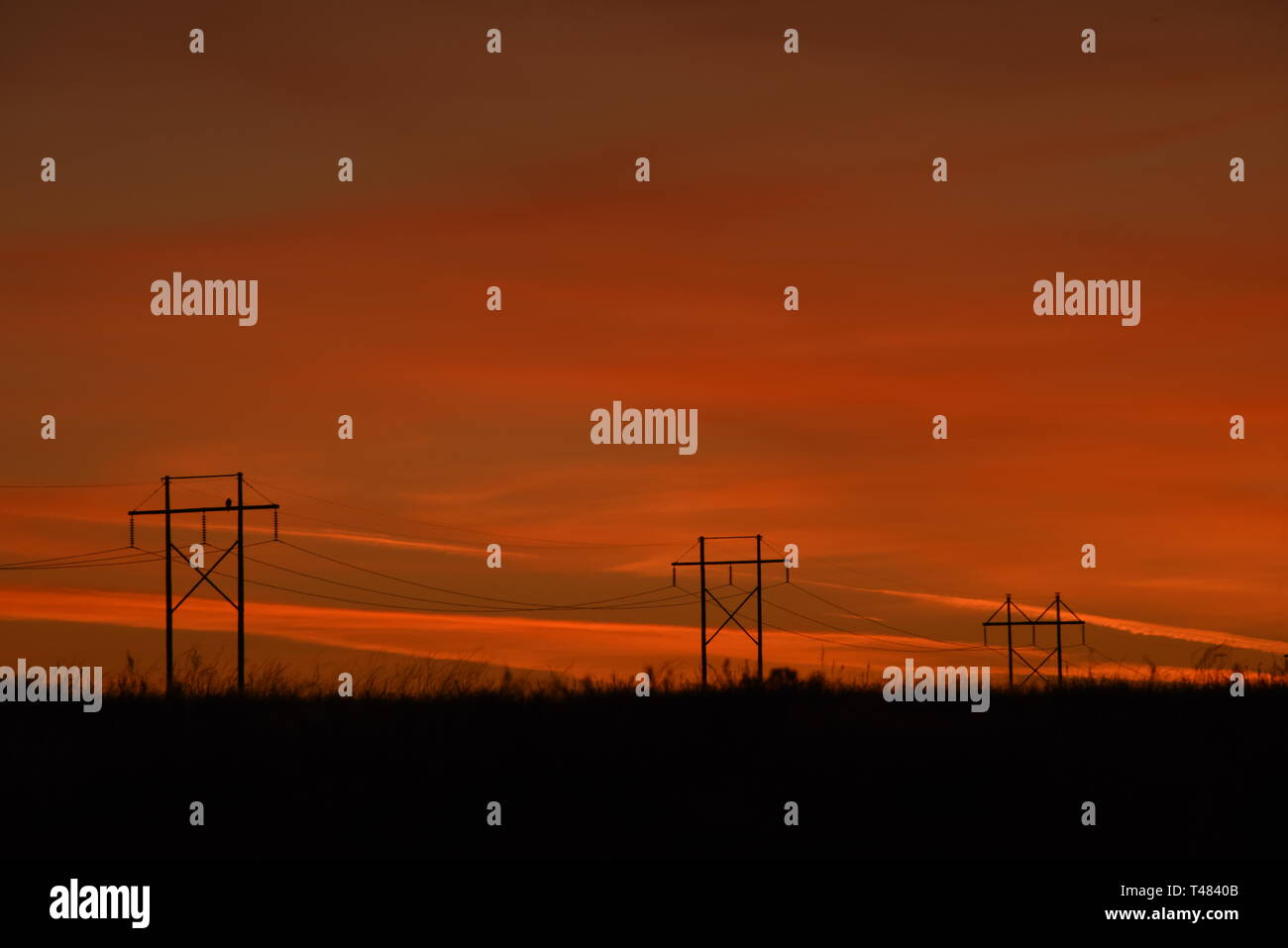 Powerlines distribute electricity from hydropower generation on the Snake River near Hagerman, Idaho, USA, North America - Stock Image