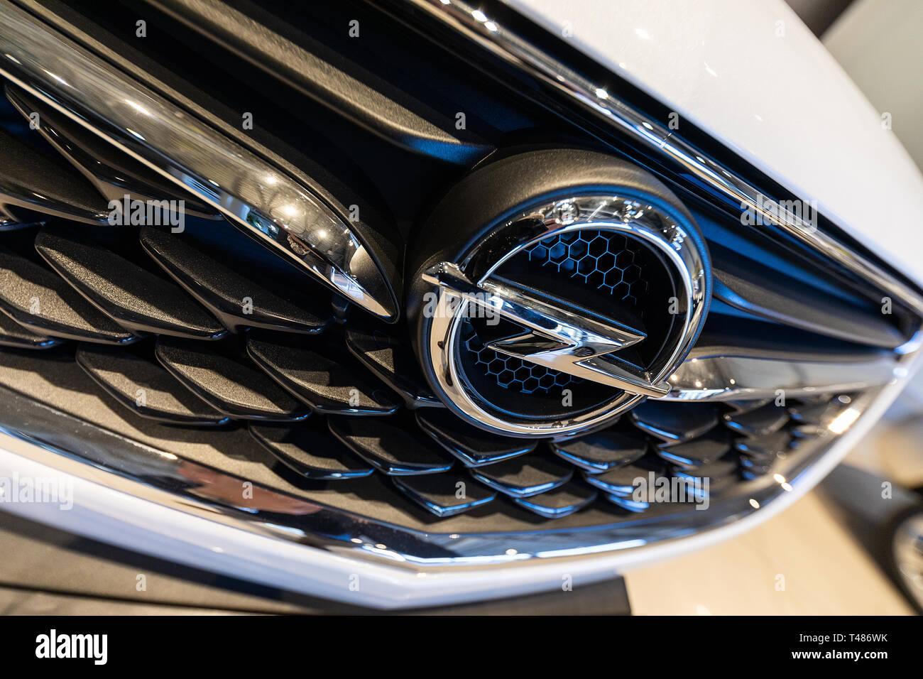 Minsk, Belarus - March 23, 2018: Opel classic car emblem - Stock Image