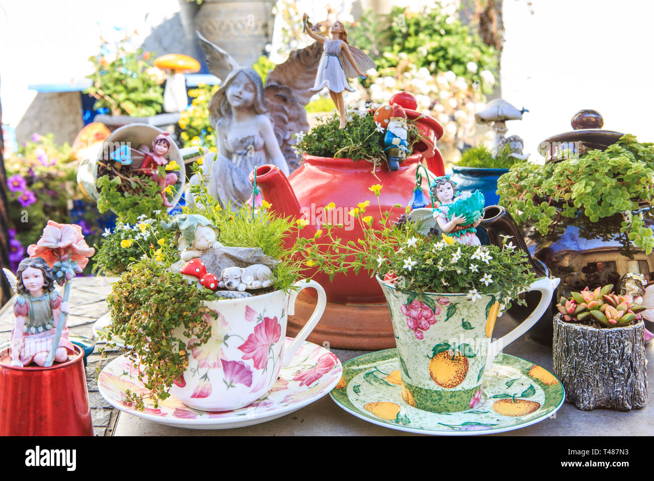 Miniature Table Top Fairy Garden With Teapots And Teacups Used As
