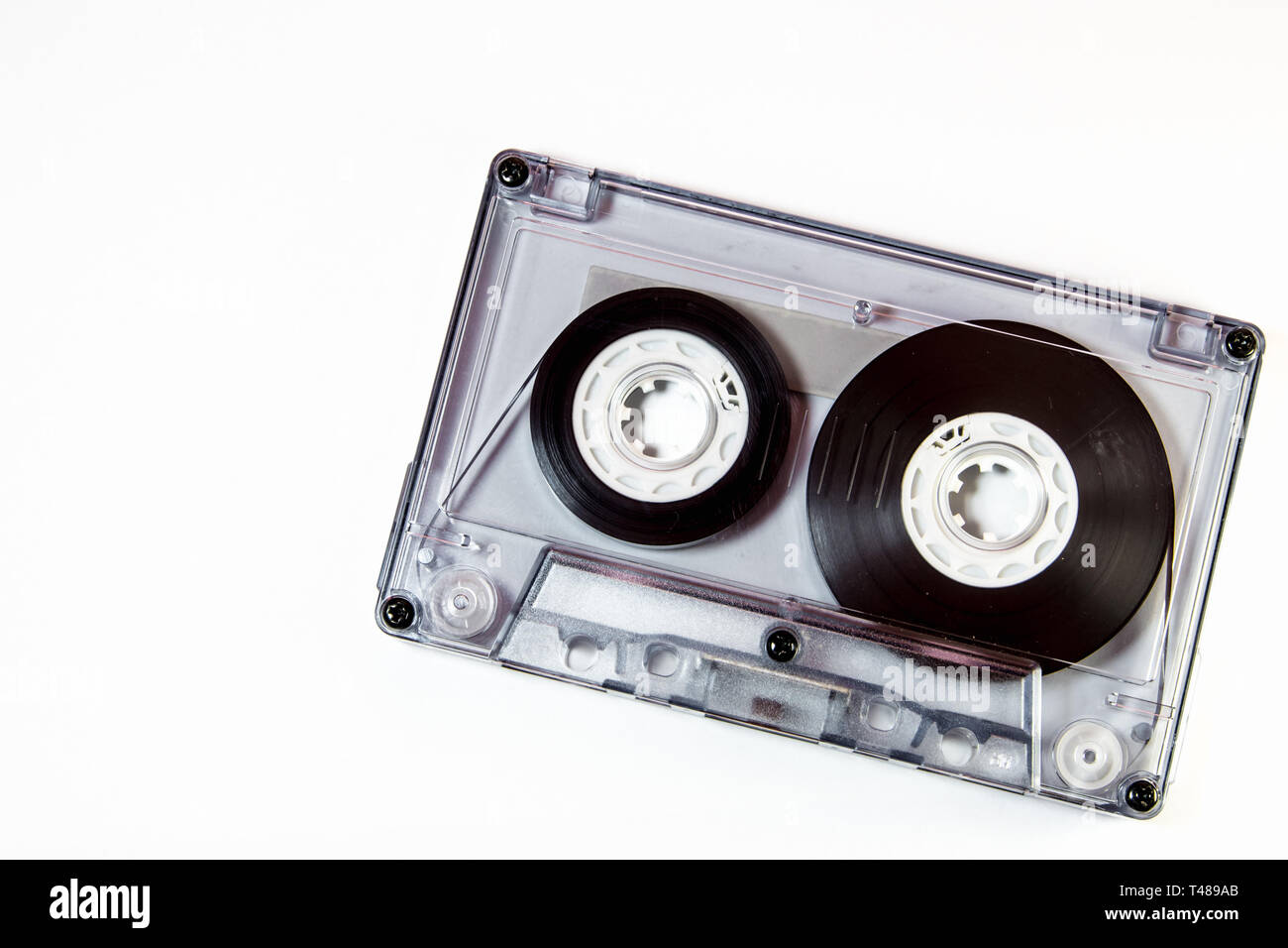 Audio cassette tape isolated on white background - Stock Image