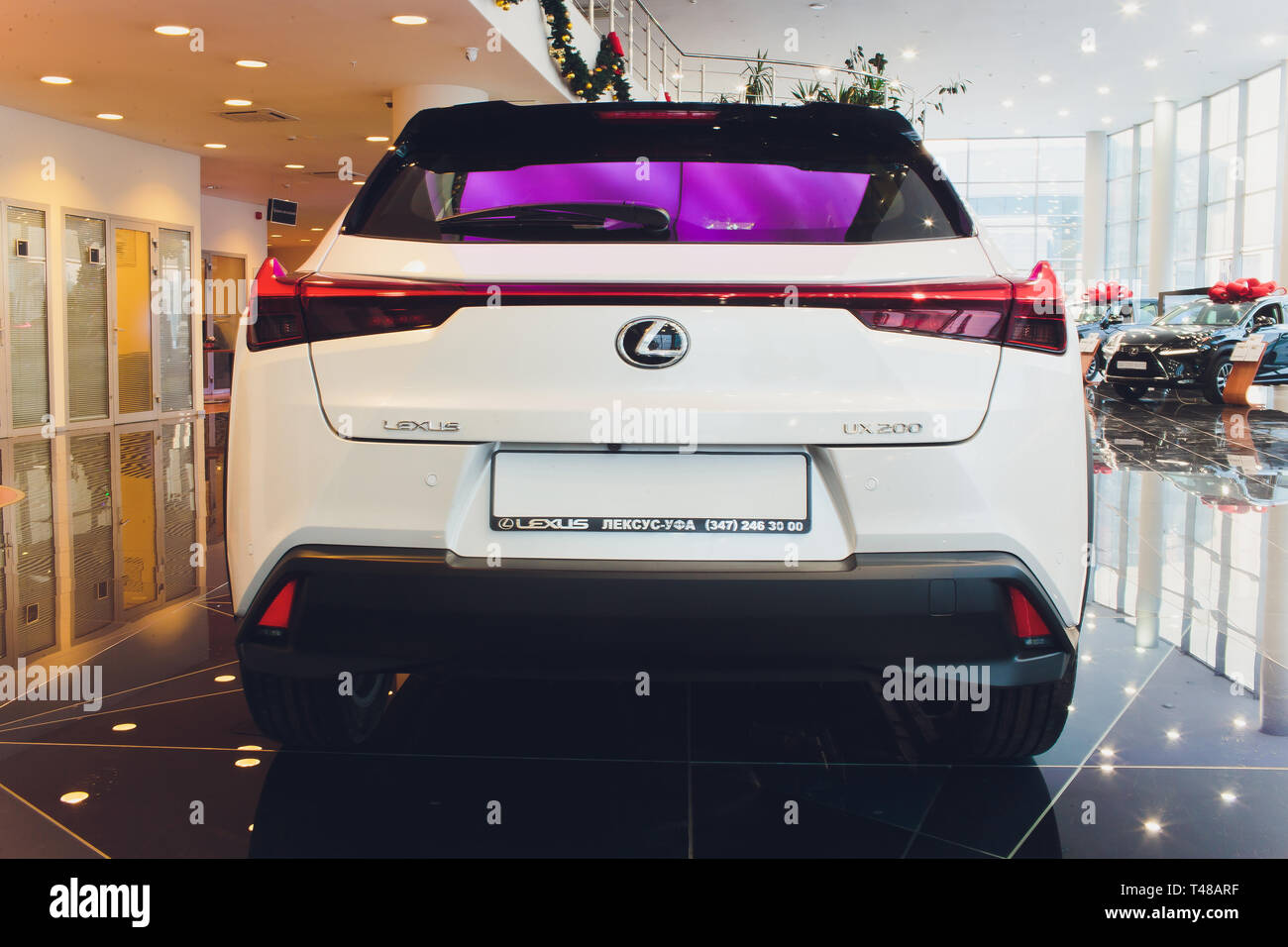 Ufa, Russia, lexus Shop, 23 January, 2019: Side view of White Lexus UX Compact Crossover. - Stock Image