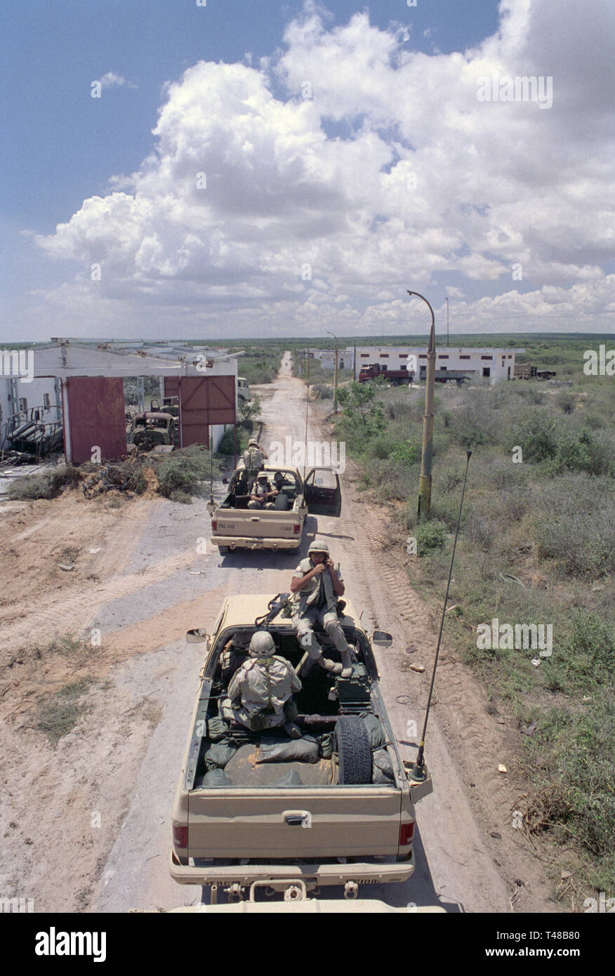 31st October 1993 U.S. Army soldiers from the USA Forces Command prepare to return to UNOSOM Headquarters as they depart 'Victory Base', to the north of Mogadishu, Somalia. - Stock Image