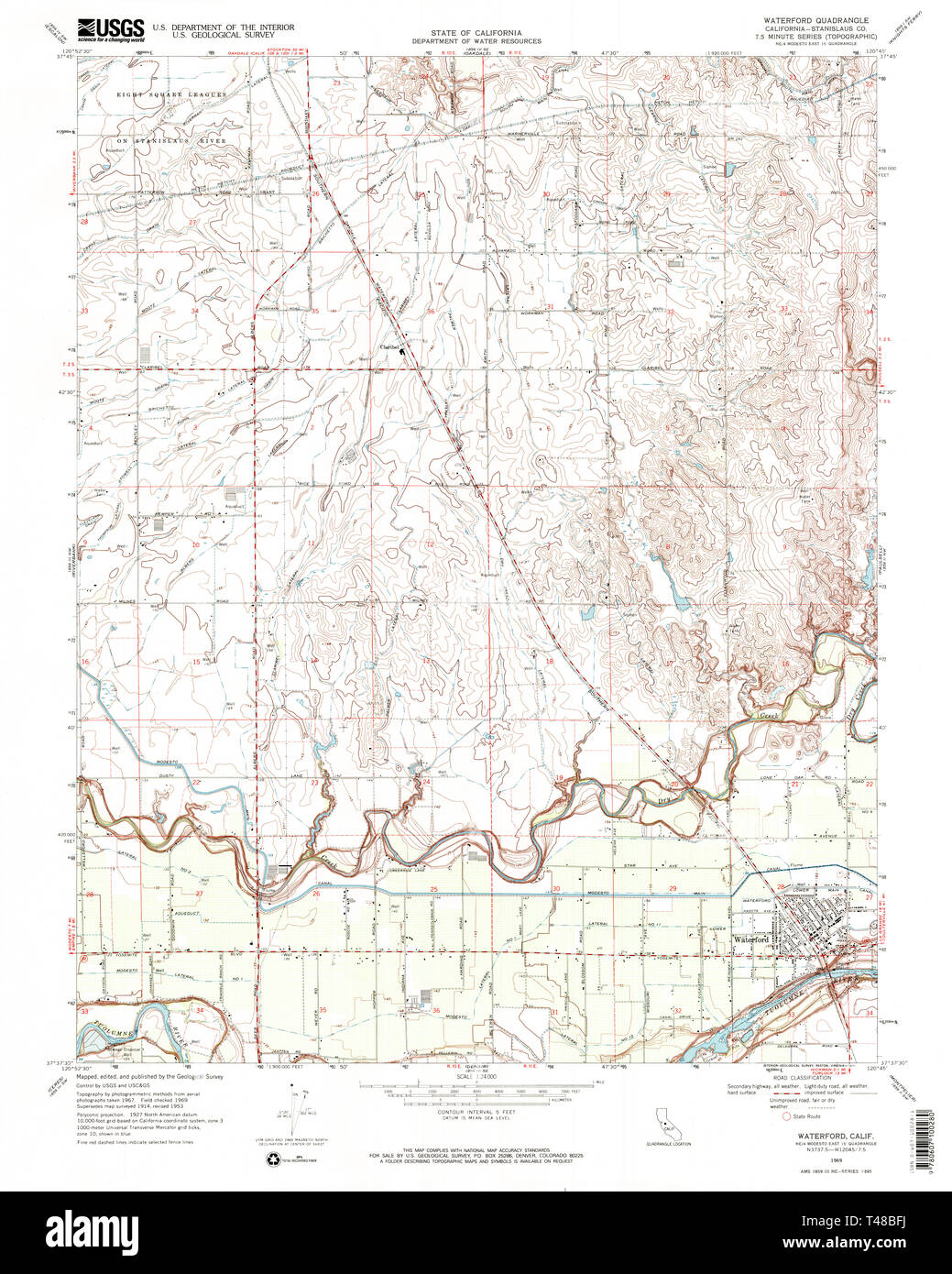 USGS TOPO Map California CA Waterford 102396 1969 24000