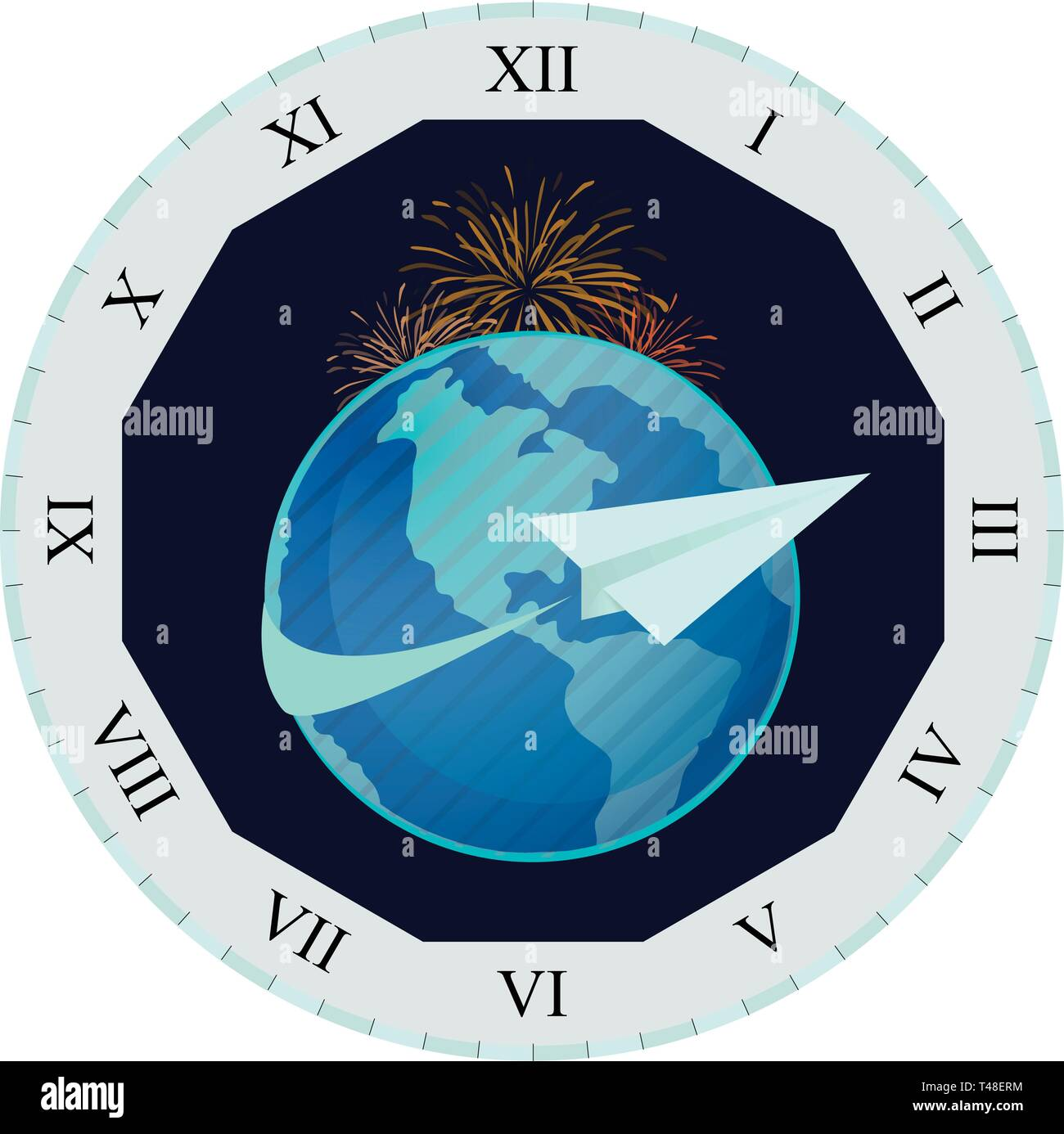 New Year's Eve Paper Airplane Clock - Stock Vector