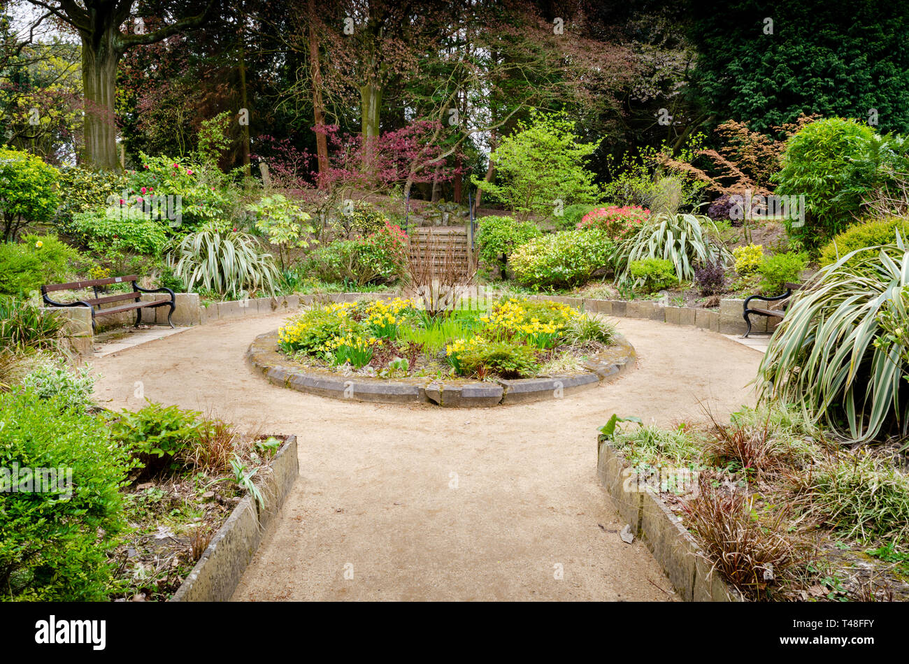 Denzell Gardens and House.  Built by Robert Scott, this house in Bowden, Altrincham features an ornamental pond, vines, orchids, and a sunken garden. - Stock Image