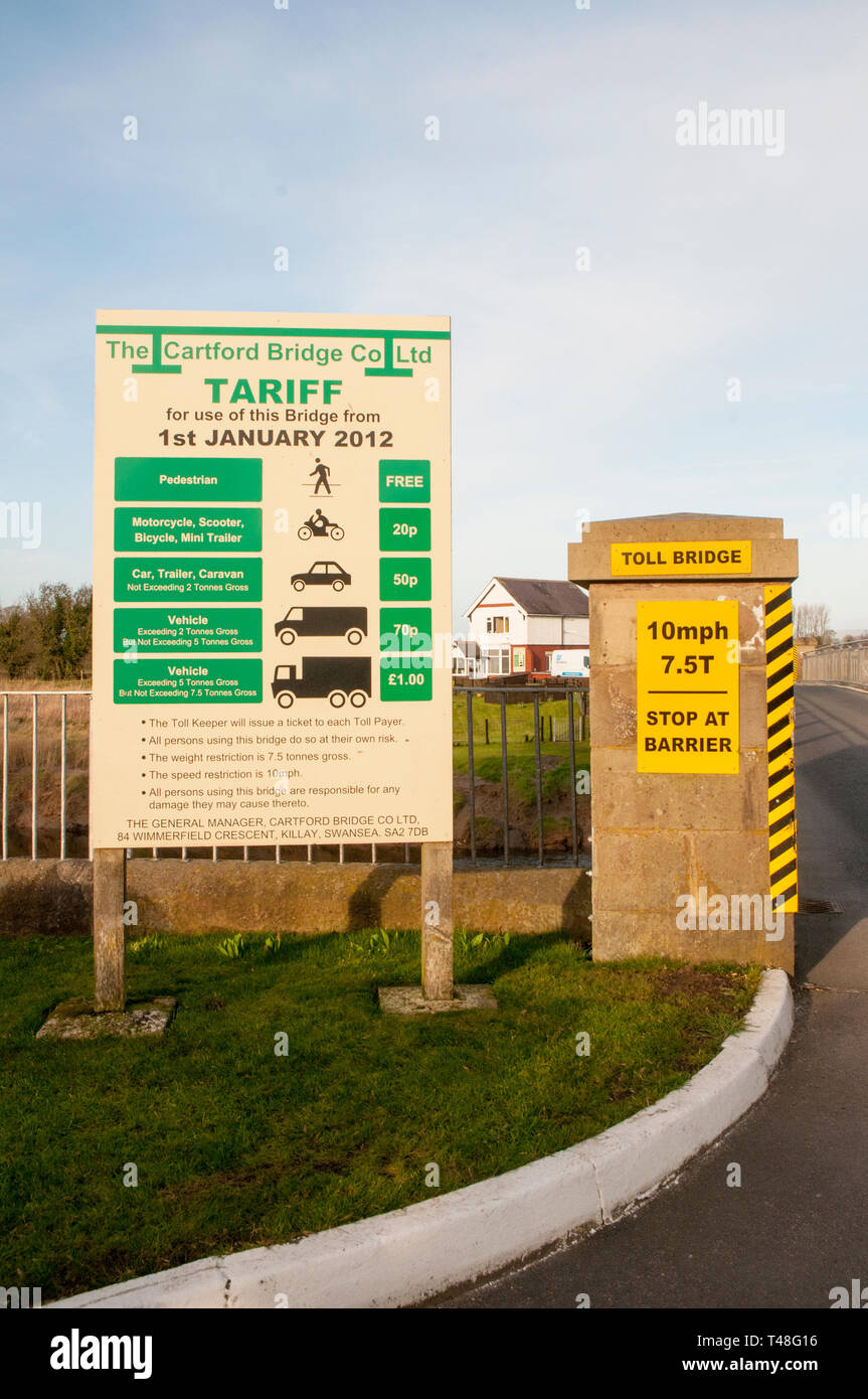 List of tolls on Cartford Toll Bridge that crosses the river Wyre to Out Rawcliffe at Little Eccleston with Larbreck  Lancashire England UK - Stock Image