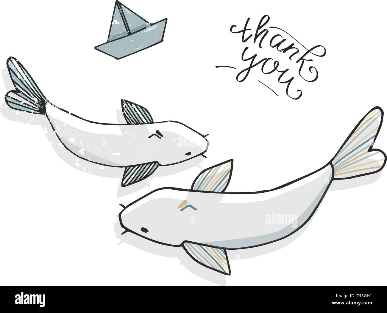 Vector fish catfish smile face funny shabby style vector color texture character drawing illustration white fish sea life drawing clip art river logo  - Stock Image