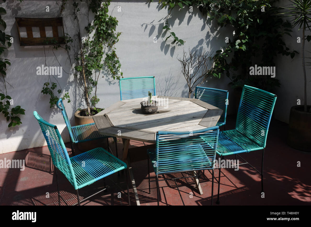Outdoor Dining Table On A Mexican Patio Stock Photo 243592747 Alamy