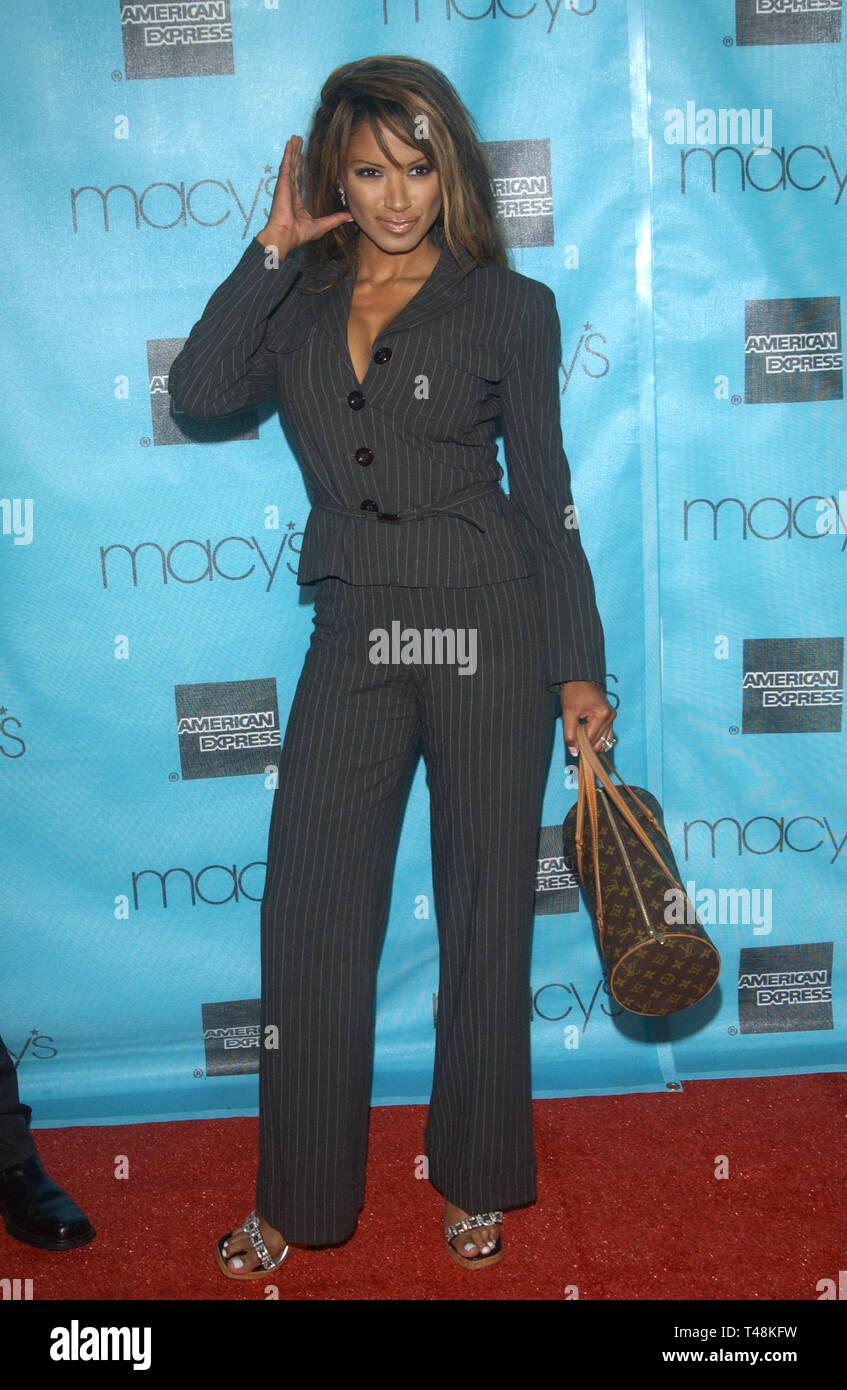 LOS ANGELES, CA. October 02, 2003: Actress TRACI BINGHAM at the Macy's & American Express Passport 2003 Gala at Santa Monica Airport, - Stock Image