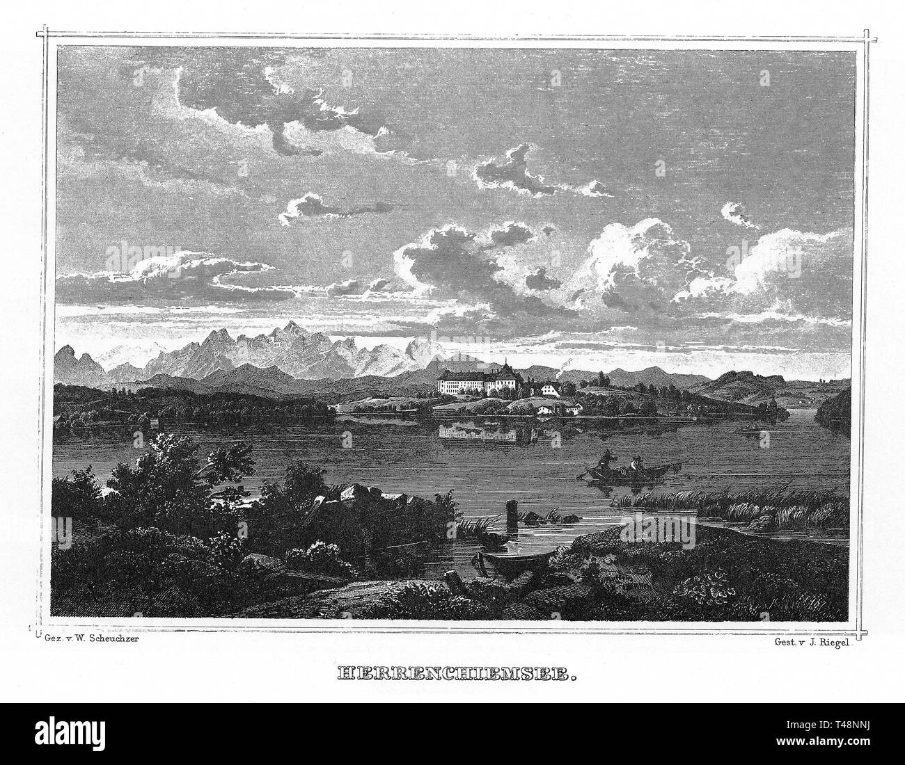 Herrenchiemsee, Chiemsee, drawing by W. Scheuchzer, engraving by J. Riegel, steel engraving 1840-1854, Kingdom of Bavaria, Germany - Stock Image