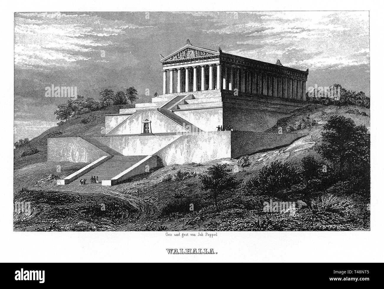 Walhalla, drawing and steel engraving by J. Poppel, 1840-1854, Kingdom of Bavaria, Germany - Stock Image