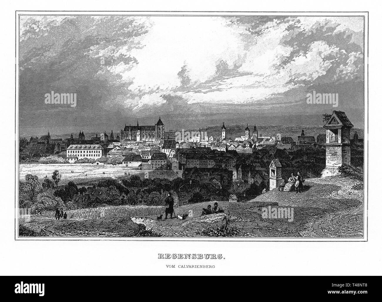 Regensburg vom Calvarienbverg, steel engraving from 1840-1854, Kingdom of Bavaria, Germany - Stock Image