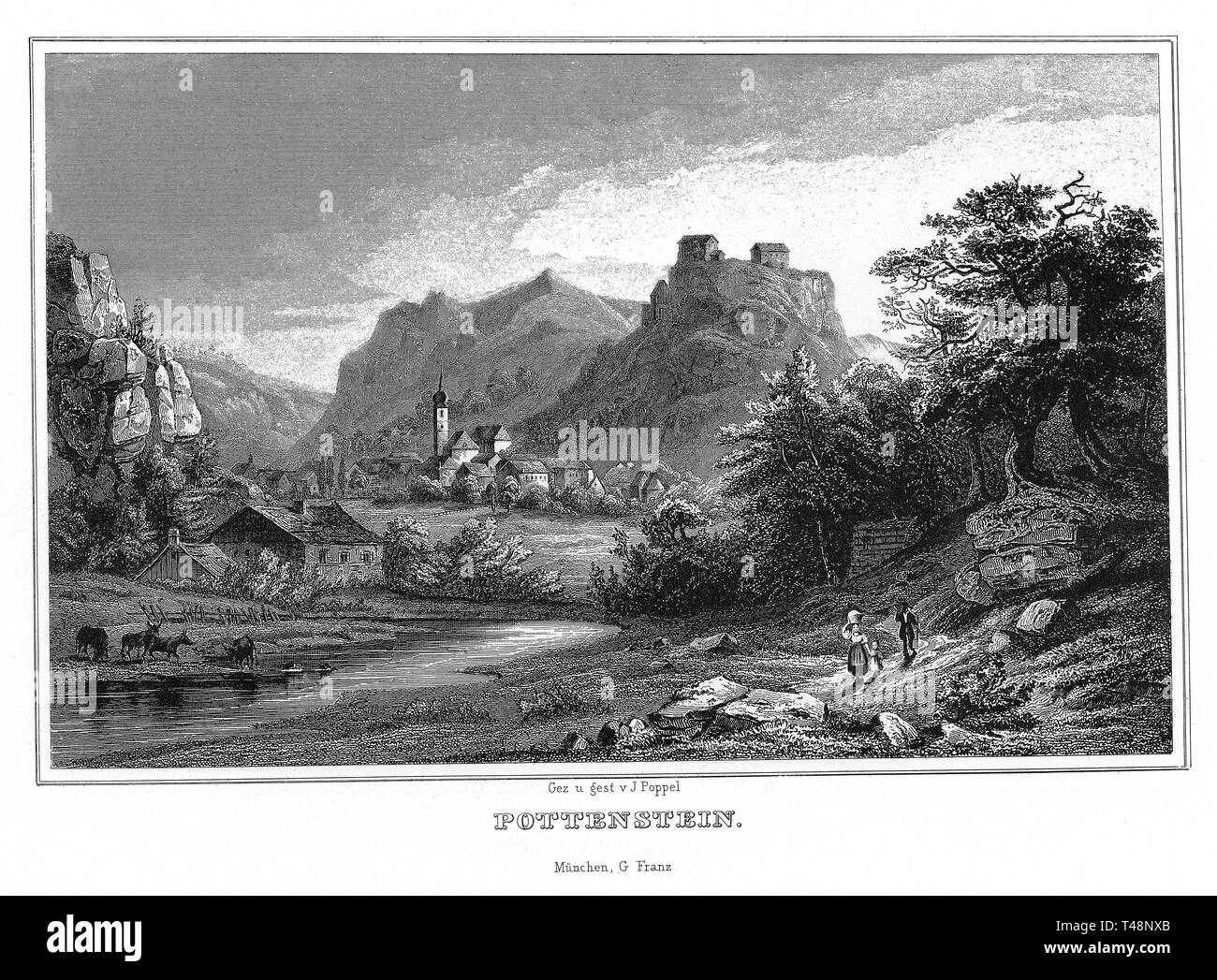 Pottenstein, drawing and steel engraving by J. Poppel, 1840-54, Kingdom of Bavaria, Germany - Stock Image