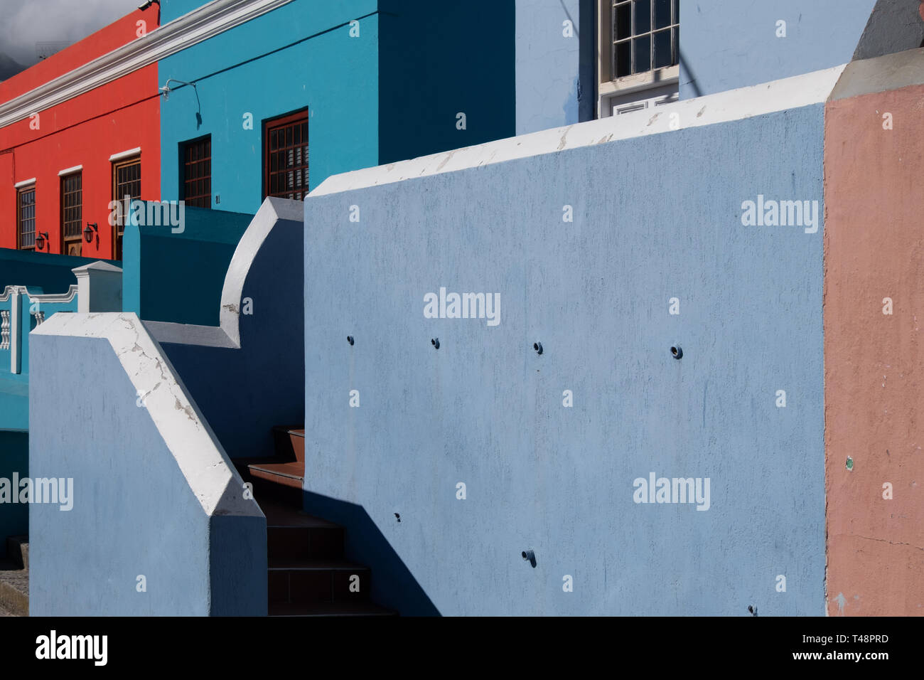 Buildings in the Malay Quarter, Bo-Kaap, Cape Town, South Africa. Historical area of brightly painted houses in the city centre, housing Moslems - Stock Image