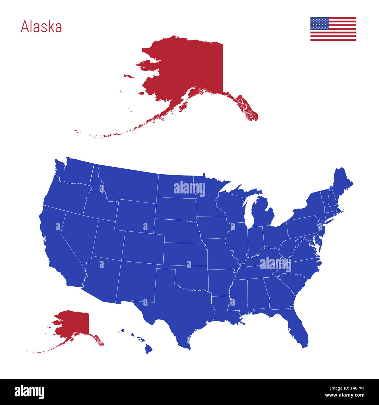 States Of United States Map.The State Of Alaska Is Highlighted In Red Blue Map Of The United