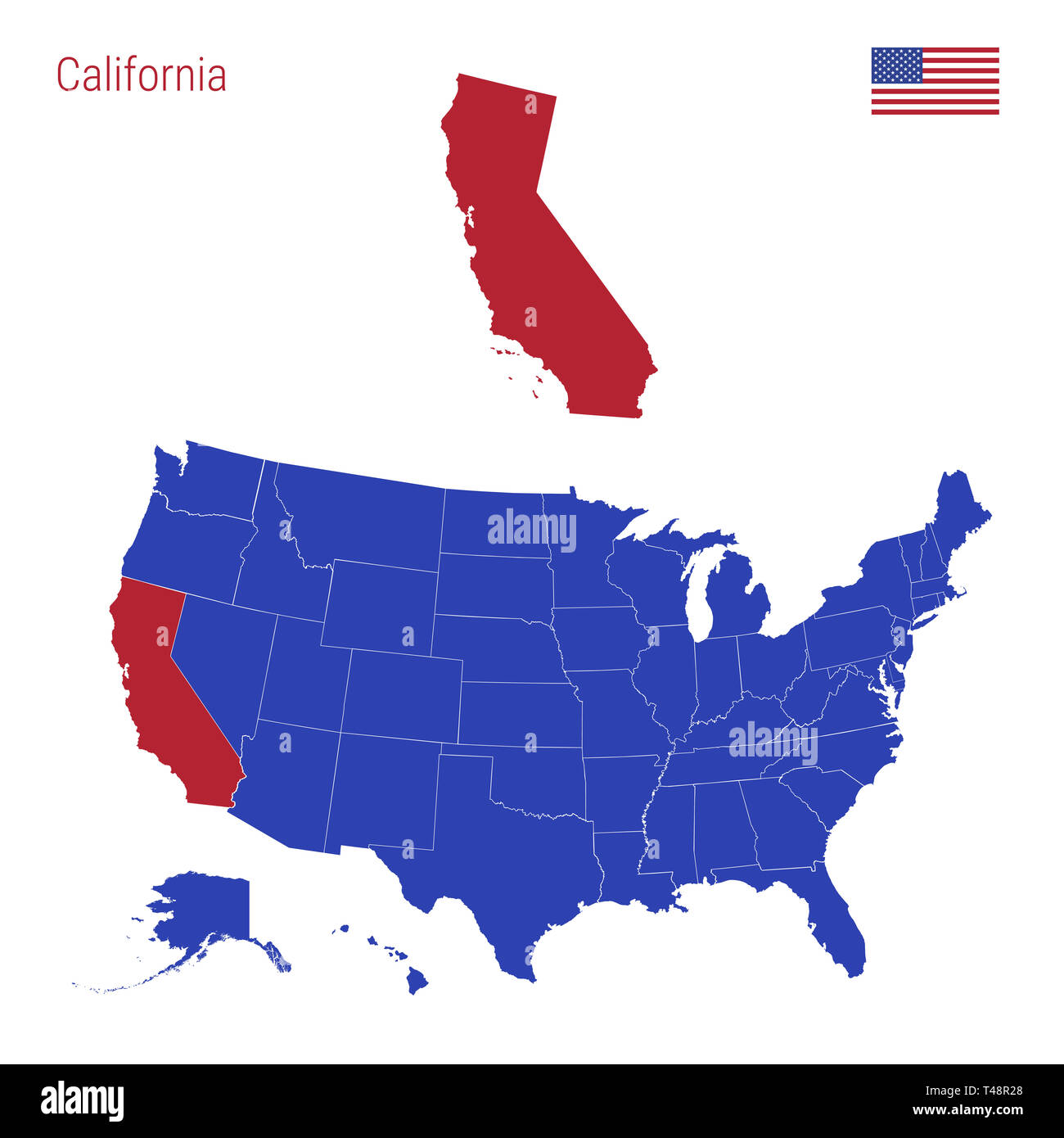 The State of California is Highlighted in Red. Blue Map of the ...