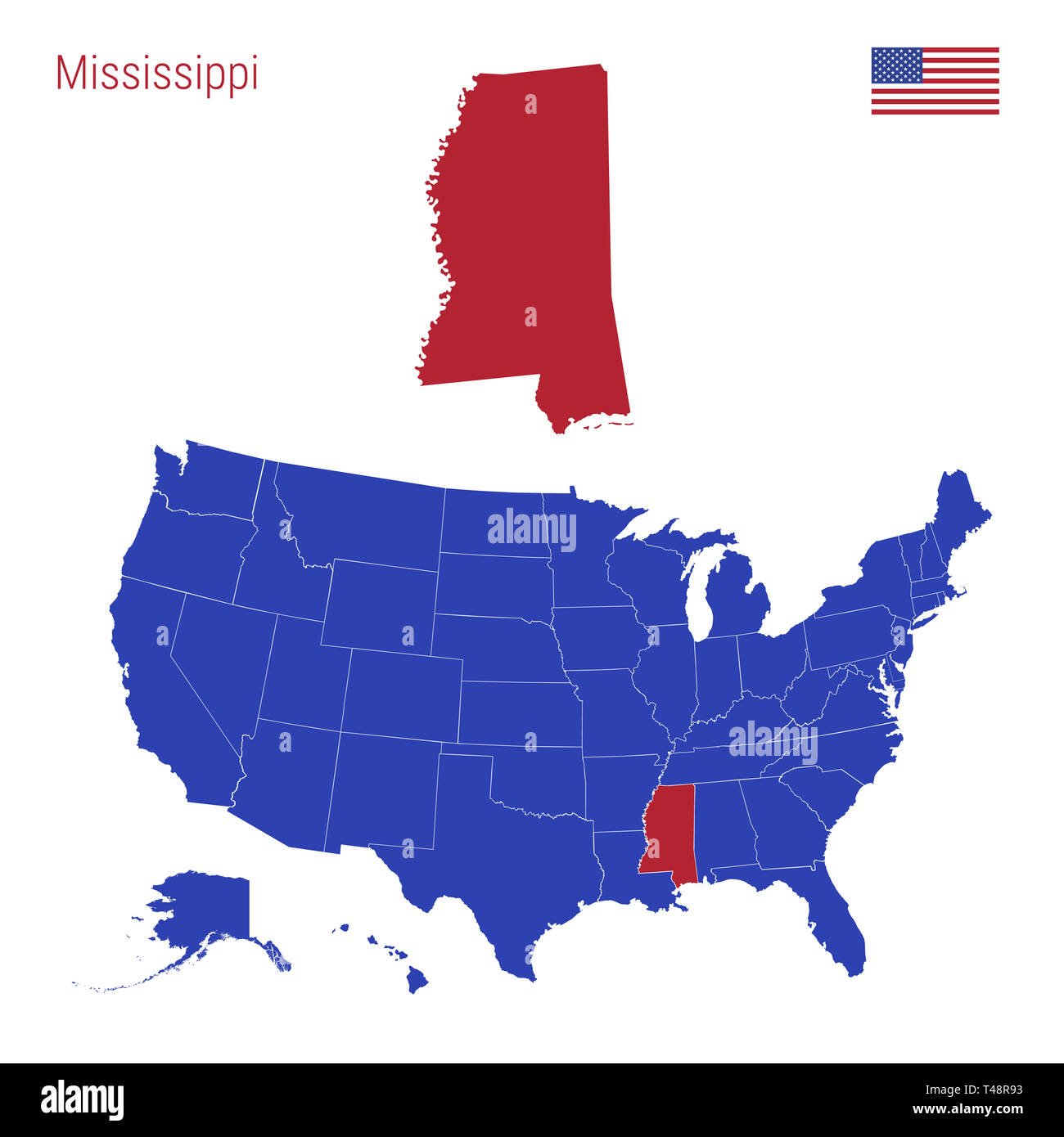 The State of Mississippi is Highlighted in Red. Blue Map of the ...