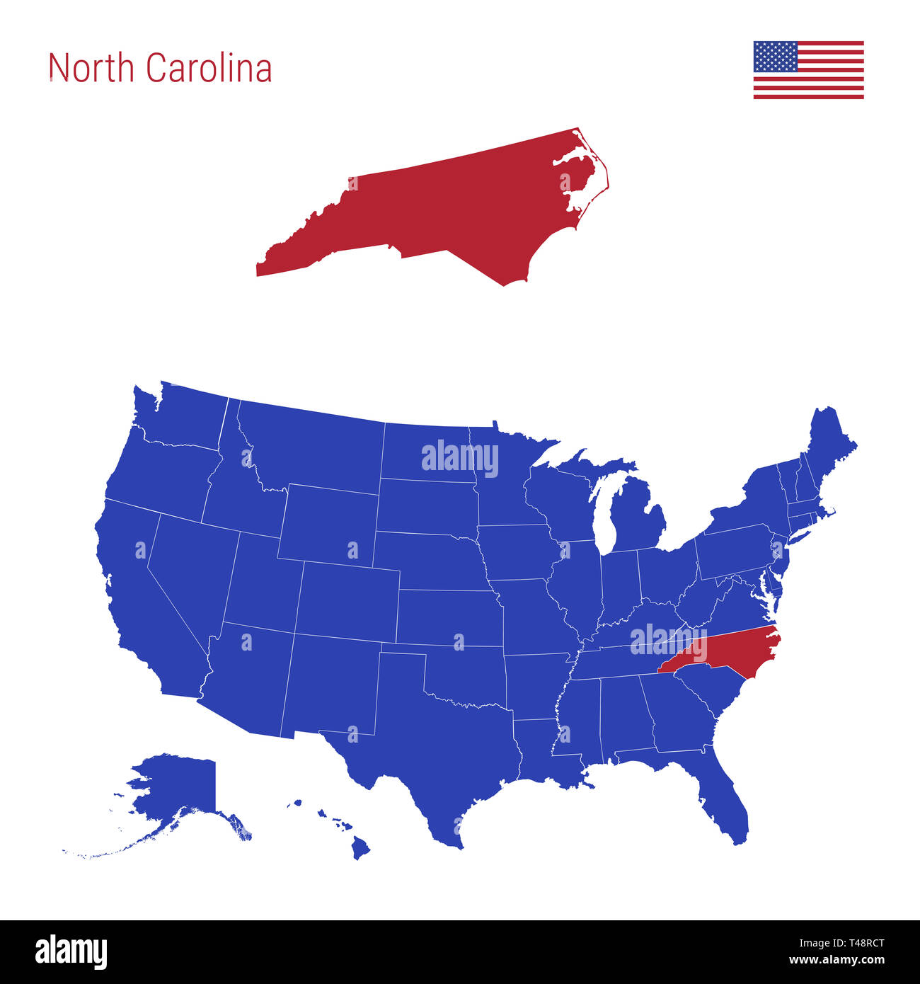 The State of North Carolina is Highlighted in Red. Blue Map of the ...