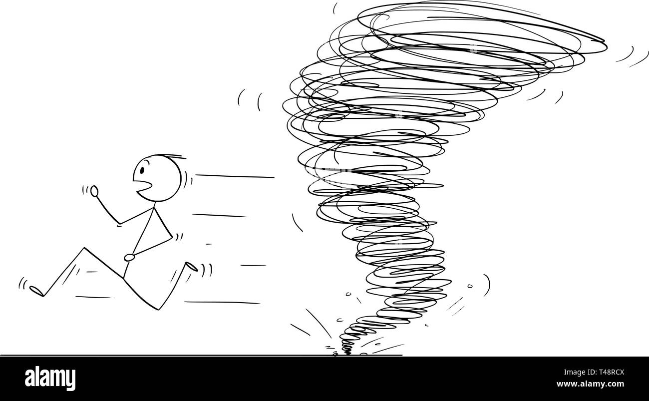 Cartoon stick figure drawing conceptual illustration of man running away from tornado vortex. Stock Vector