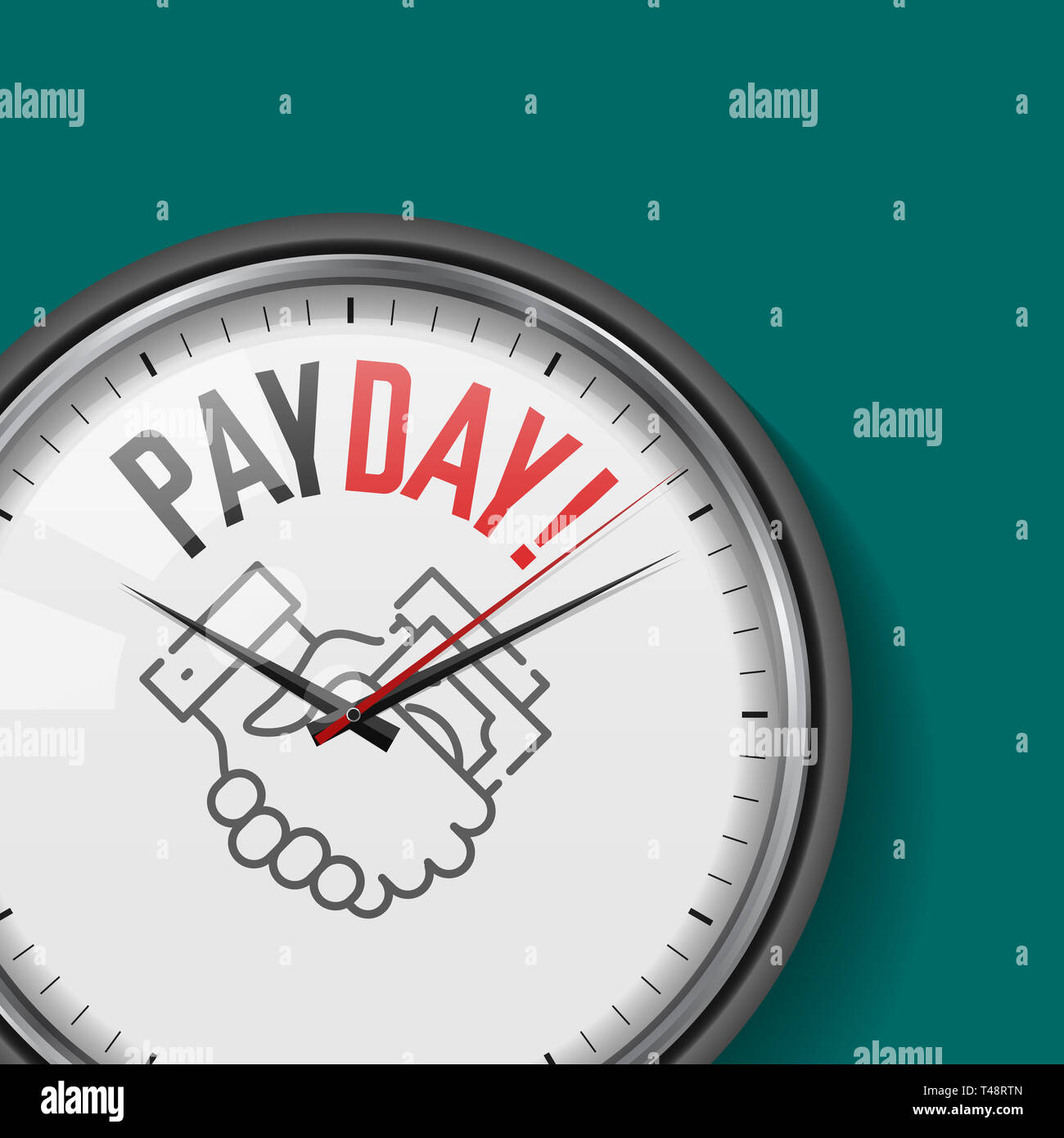 Payday Time. White Clock with Motivational Slogan. Analog Metal Watch with Glass. Illustration Isolated on Solid Color Background. Money Transfer Icon Stock Photo