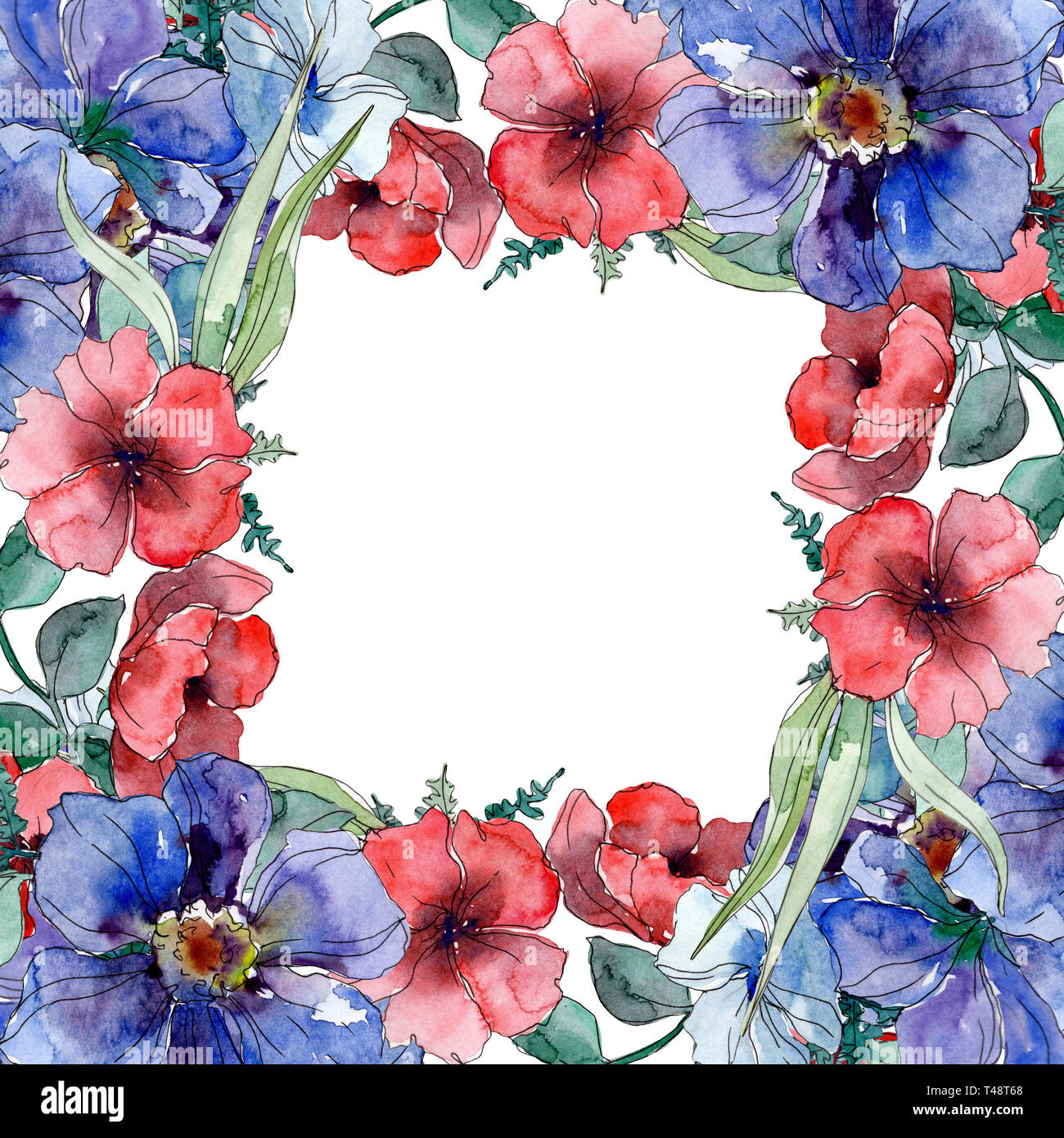 Wildflower Bouquet Botanical Flowers Watercolor Background Illustration Set Frame Border Crystal Ornament Square Stock Photo Alamy