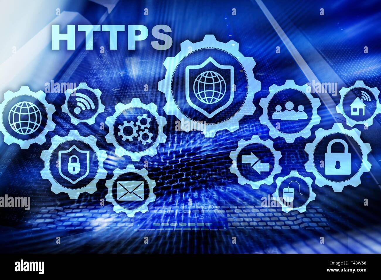 HTTPS. Hypertext Transport Protocol Secure. Technology Concept on Server Room Background. Virtual Icon for network security web service. - Stock Image