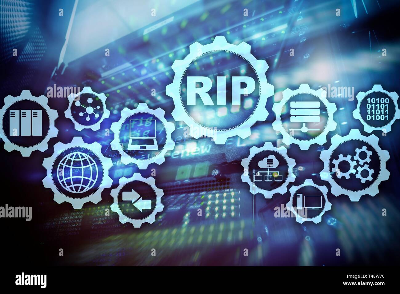 RIP Routing Information Protocol. Technology networks cocept. - Stock Image