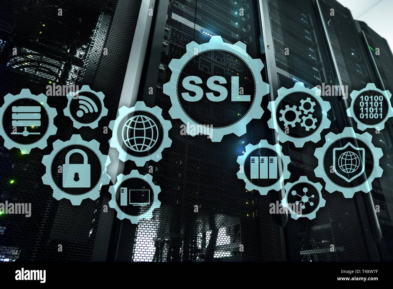 SSL Secure Sockets Layer concept. Cryptographic protocols provide secured communications. Server room background. - Stock Image