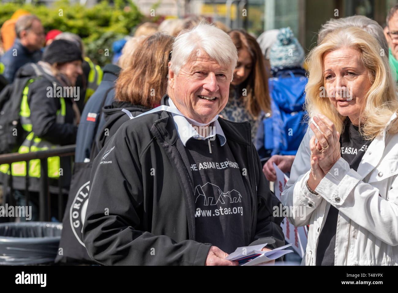 Stanley Johnson at a stop trophy hunting and ivory trade protest rally, London, UK - Stock Image