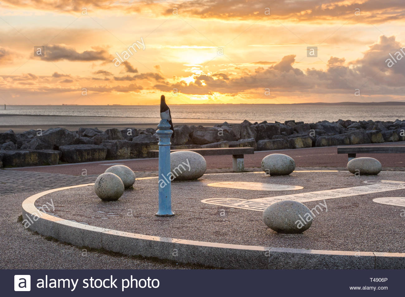 Part of the Tern Project, on the Stone Jetty at Morecambe, Lancashire, England, UK as the sun sets over Morecambe Bay - Stock Image