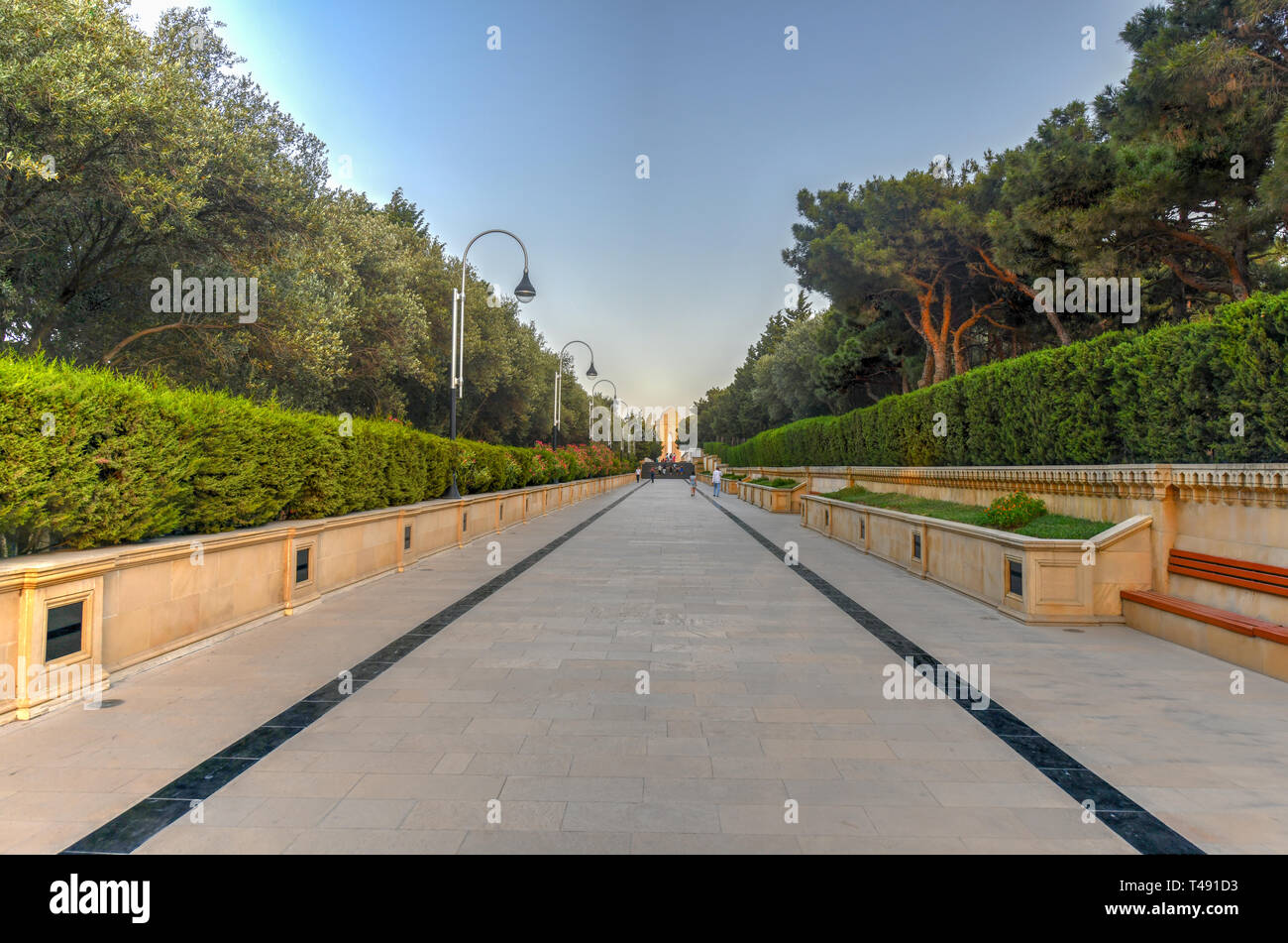 Baku, Azerbaijan - July 14, 2018. Alley of Martyrs in the Upland Park in Baku Azerbaijan. Stock Photo