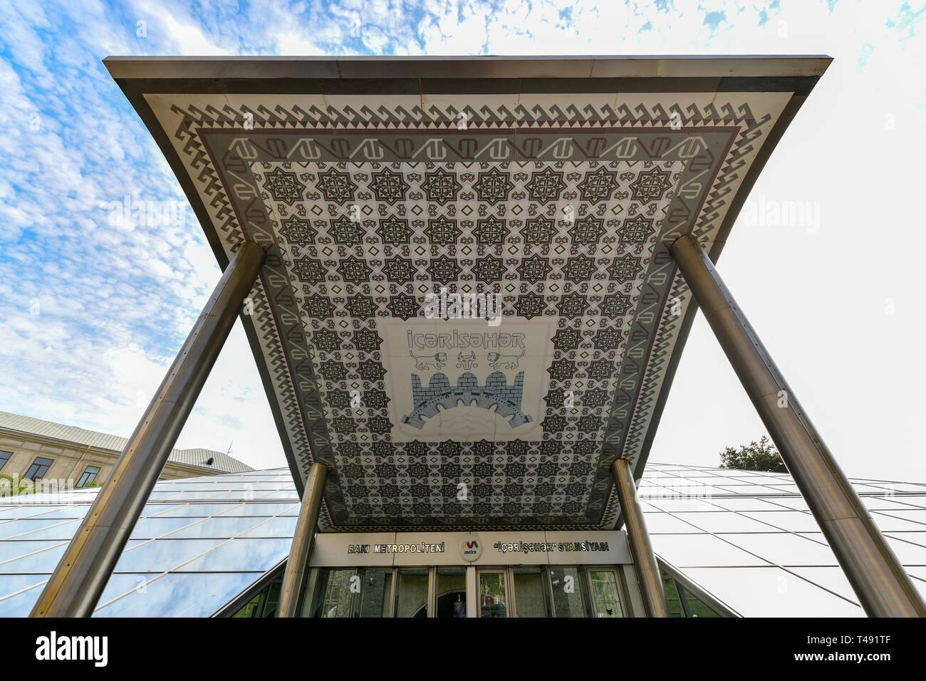 Baku, Azerbaijan - July 15, 2018: Entrance to the metro station Icheri Sheher (Old City) of Baku, Azerbaijan. - Stock Image
