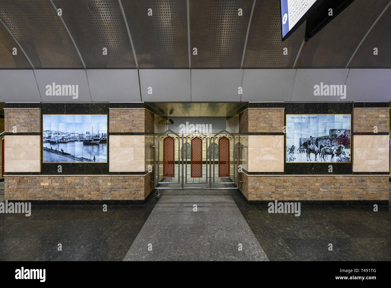 Baku, Azerbaijan - July 15, 2018: Metro station in the city of Baku, Azerbaijan. - Stock Image