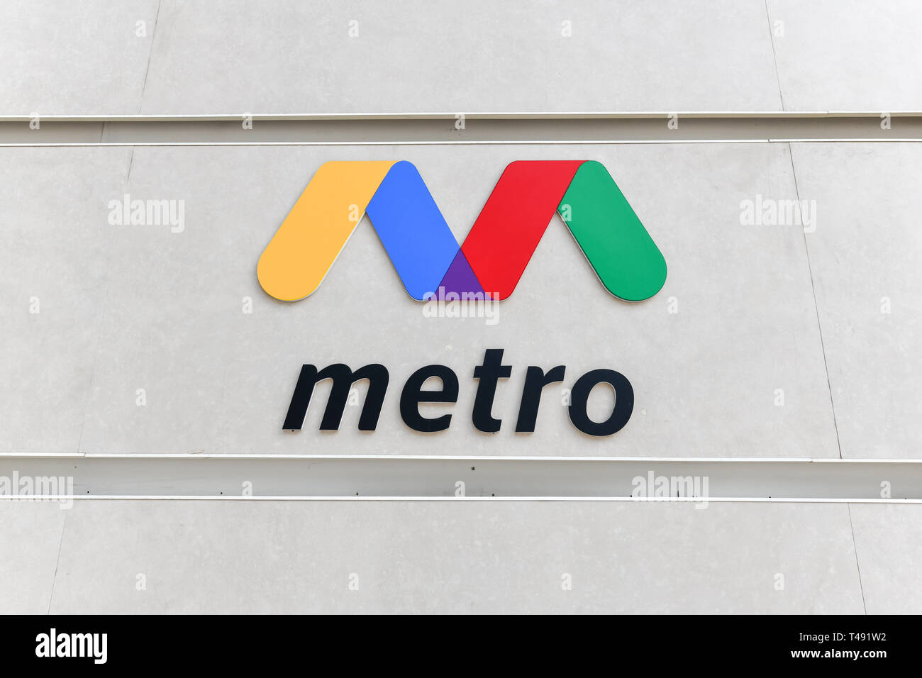 Baku, Azerbaijan - July 15, 2018: Logo for the Metro in the city of Baku, Azerbaijan. - Stock Image