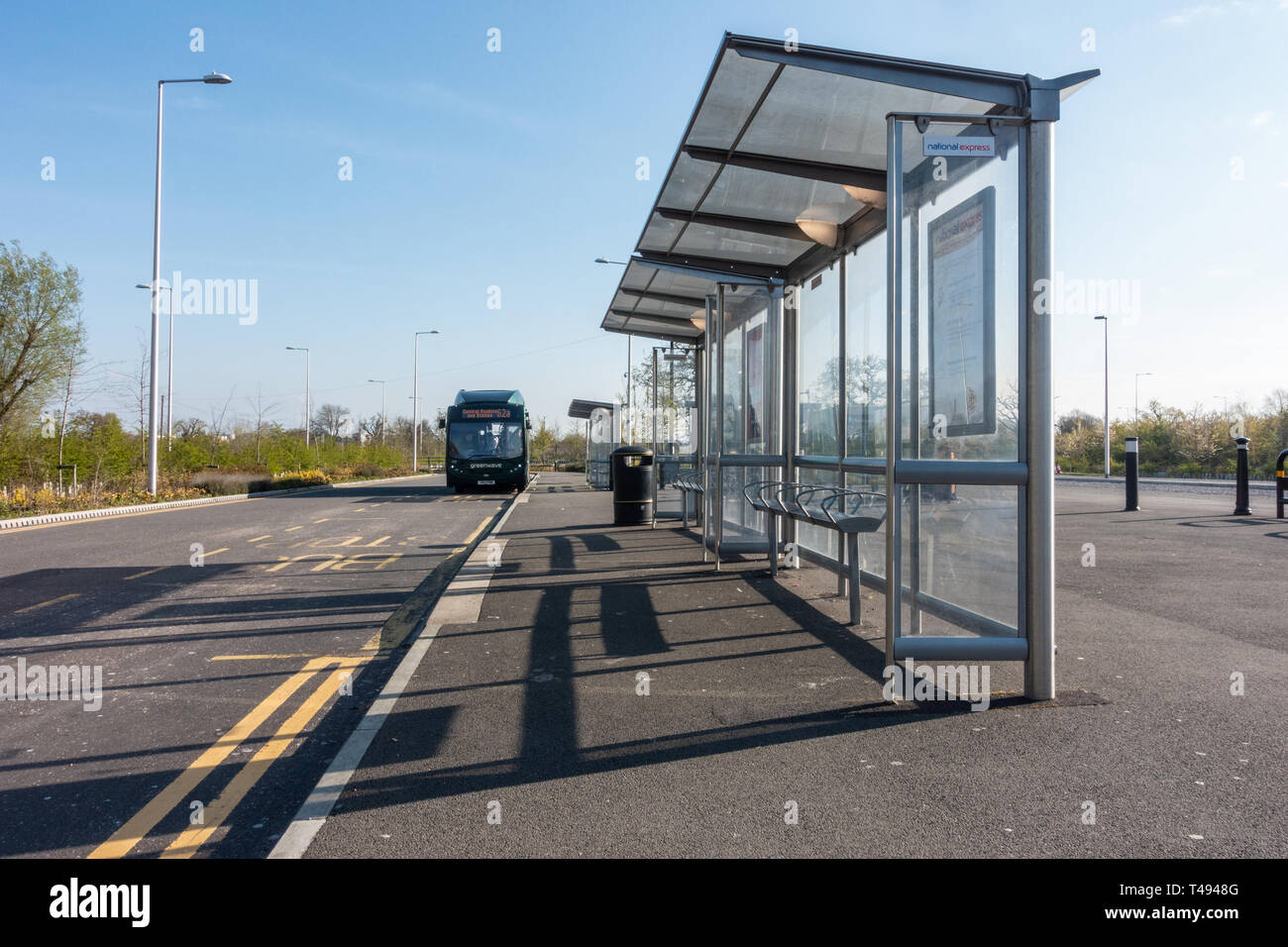 Bus shelters at Mereoak Park and Ride in reading, Berkshire, UK - Stock Image
