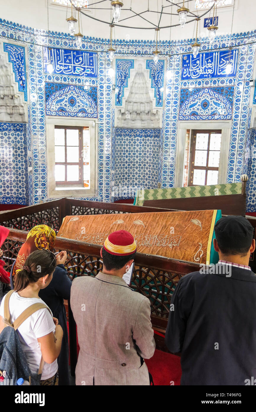 ISTANBUL, TURKEY - MAY 21, 2016: Tombs of the sultans: Suleiman Han and Hurrem Sultan. The Suleymaniye Mosque. Istambul, Turkey - Stock Image