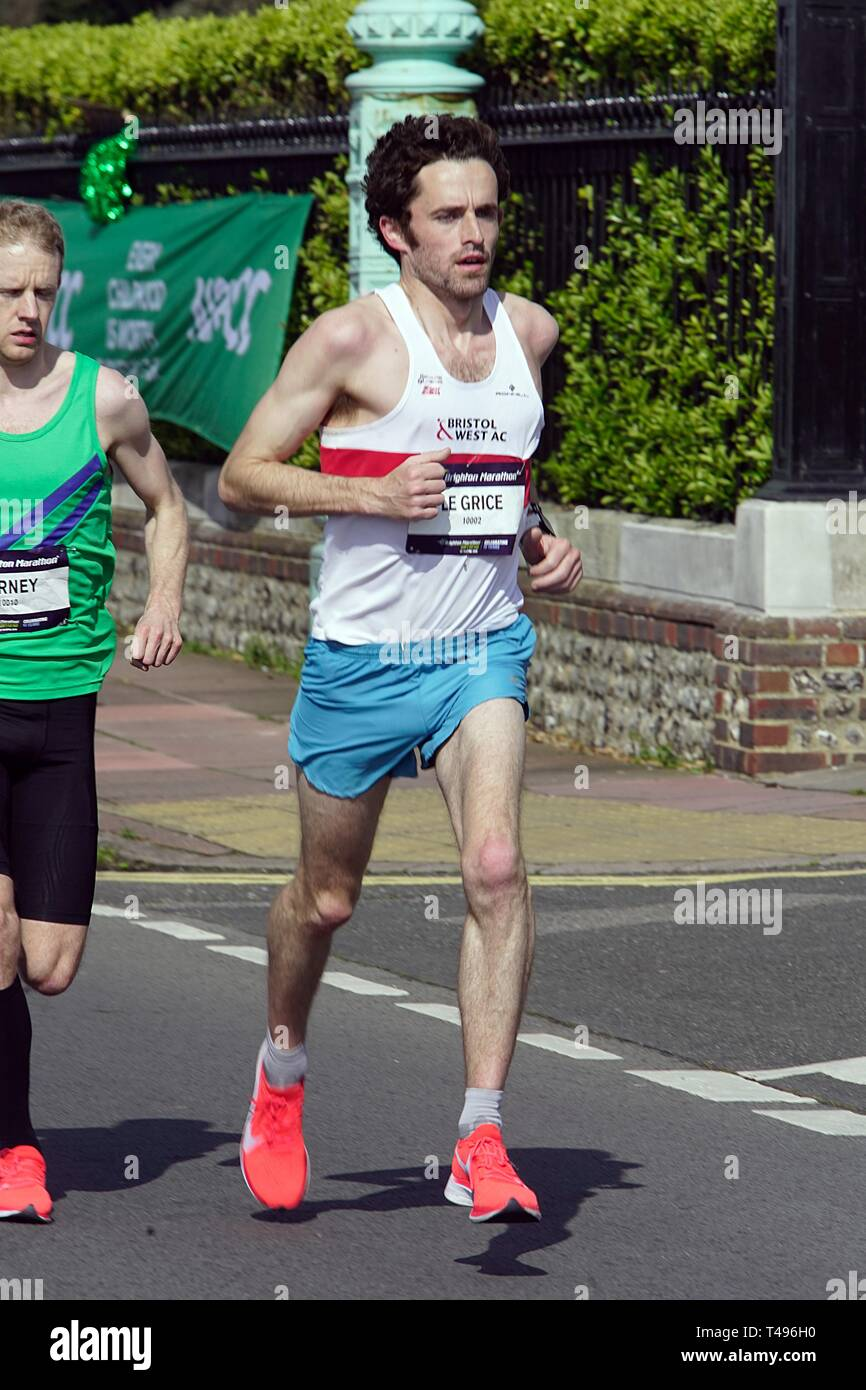 Brighton ,England UK April 14th 2019. Peter Le Grice, Wins the tenth brighton marathon with a PB of 2.18.04 breaking the course record. - Stock Image