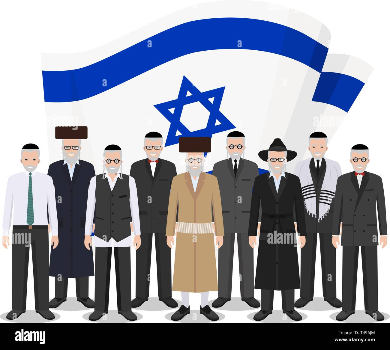 Social concept. Group senior jewish people standing together in different traditional national clothes on background with Israel flag in flat style - Stock Vector