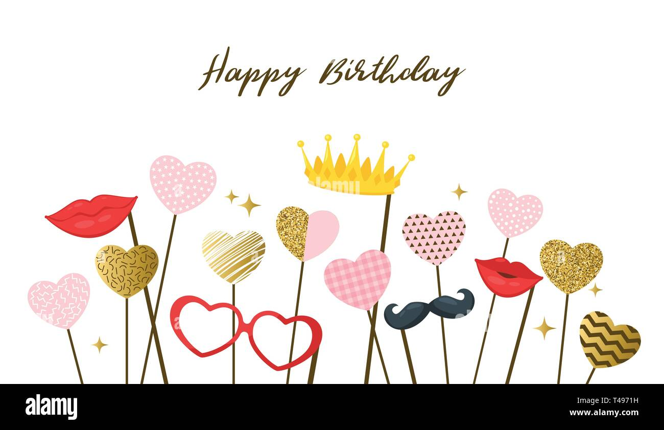 Happy Birthday Design Template For Greeting Card With Photo Booth Props Vector Illustration Stock Vector Image Art Alamy