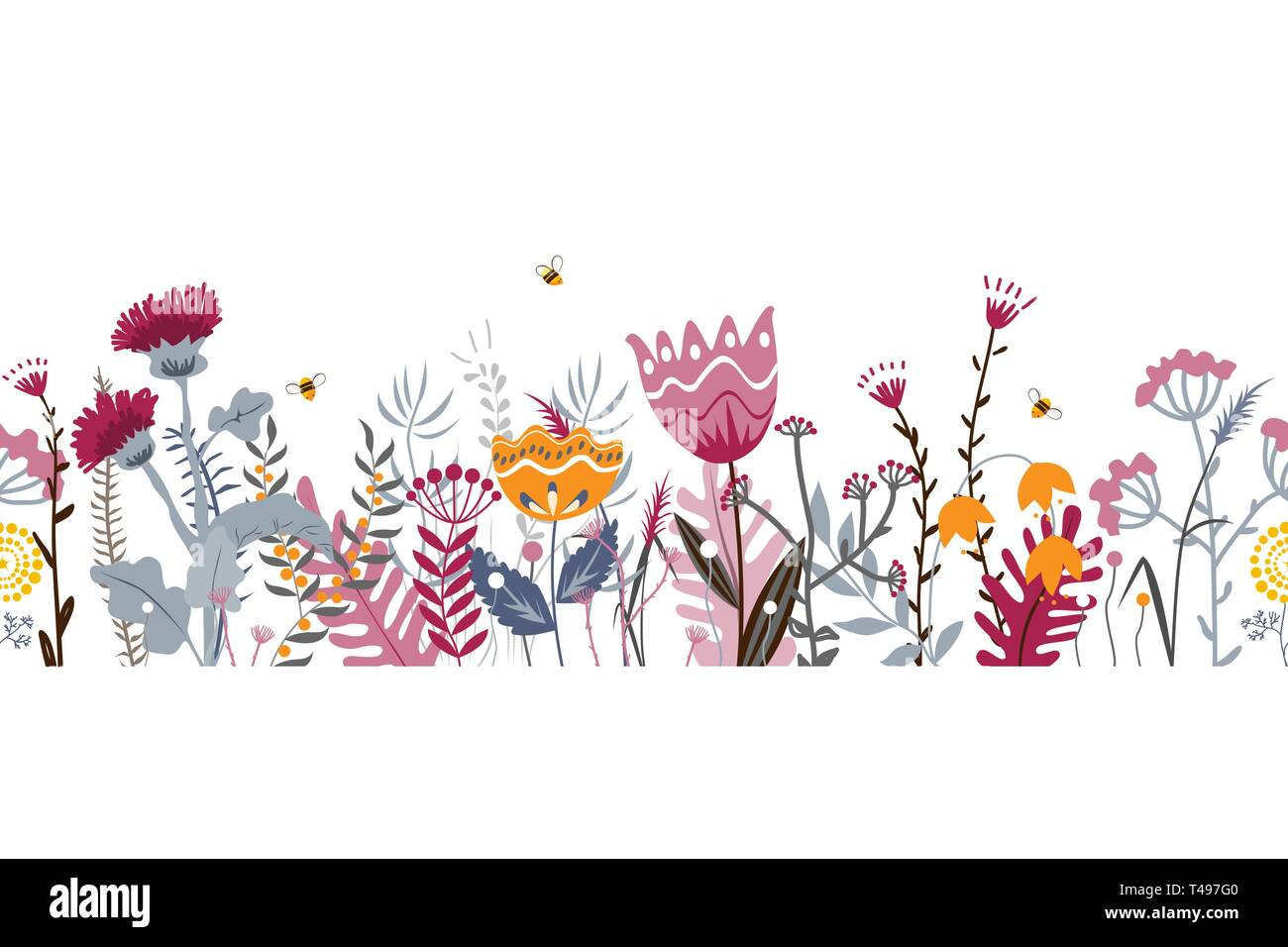 Vector nature seamless background with hand drawn wild herbs, flowers and leaves on white. Doodle style floral illustration - Stock Vector