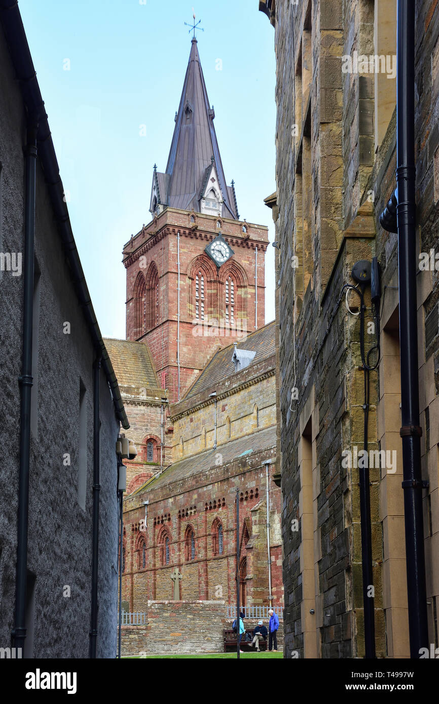 St Magnus Cathedral, Broad Street, Kirkwall, The Mainland, Orkney Islands, Northern Isles, Scotland, United Kingdom - Stock Image