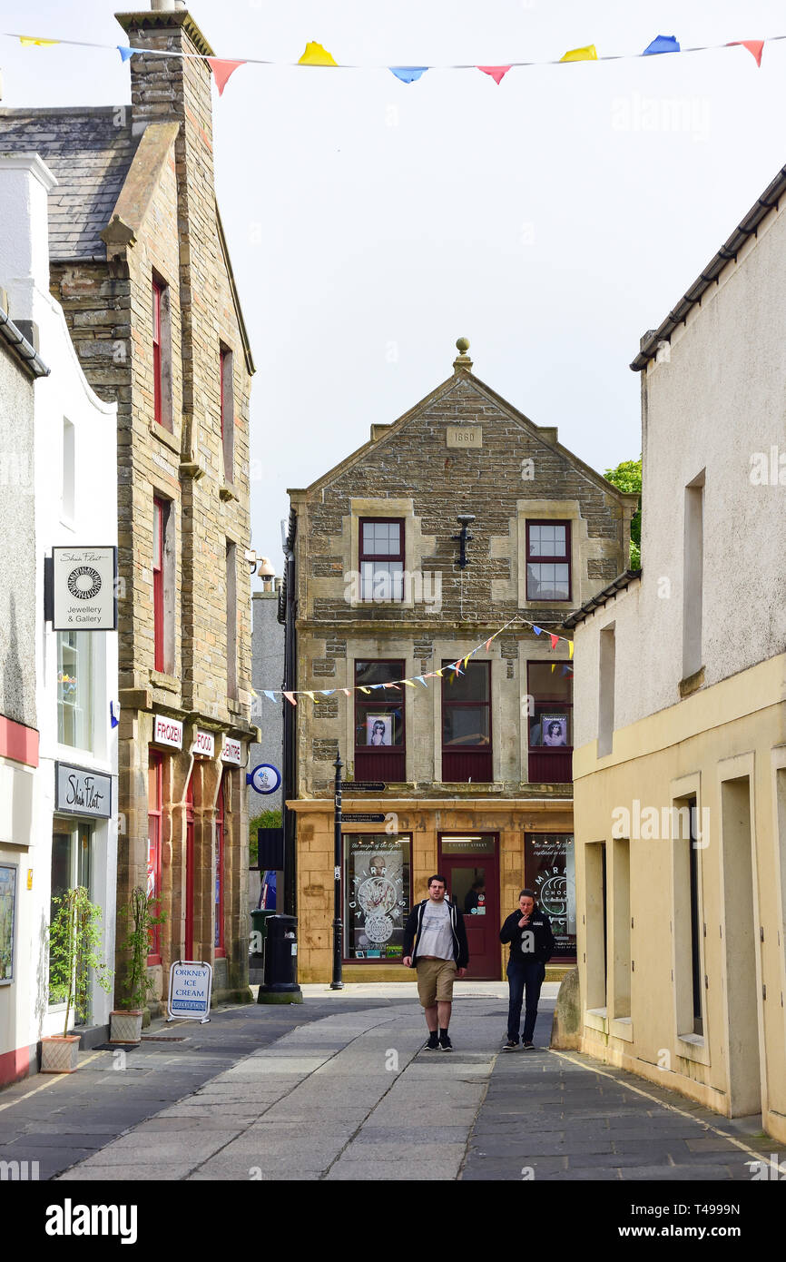 Albert Street from Bridge Street, Kirkwall, The Mainland, Orkney Islands, Northern Isles, Scotland, United Kingdom - Stock Image