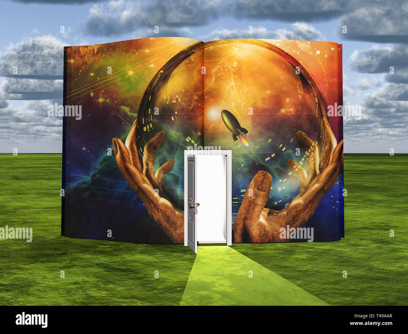 Book with science fiction scene and open doorway of light - Stock Image