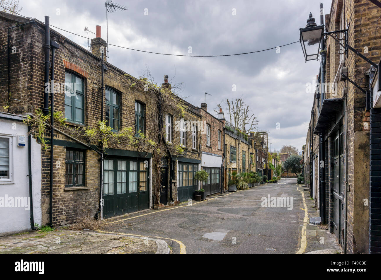 Doughty Mews is part of the Bloomsbury Conservation Area in central London. - Stock Image