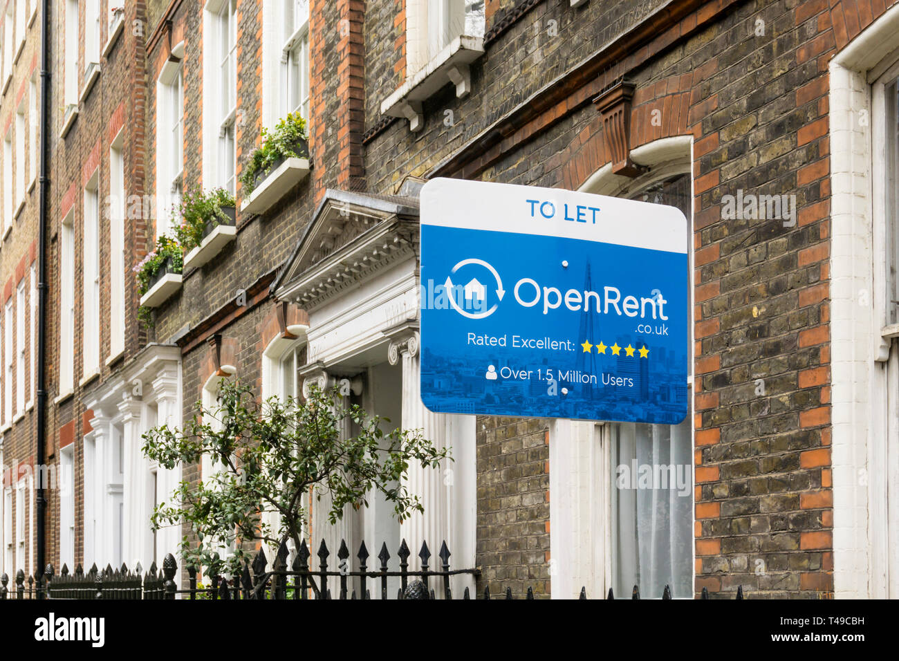 Agents To Let board on a house to let through the online letting agency OpenRent in Bloomsbury, Central London. - Stock Image